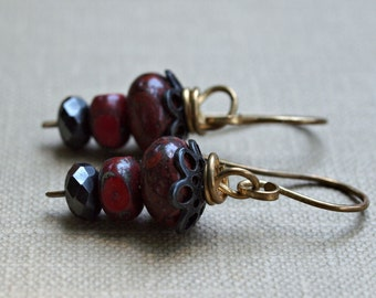 Handmade dangle earrings, Bracciated Jasper, Czech glass, Brass wire