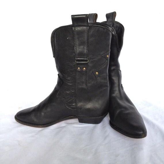 vintage kenneth cole black leather boots western studded