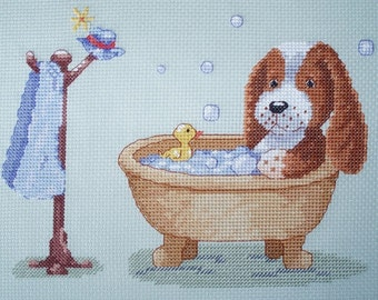 KL105 Arthur's Bath Puppy Counted Cross Stitch Kit