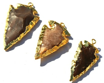 35mm 24k Gold Layered Edge Jasper Arrowhead Pendant Gold Electroplated Edge Jasper Arrowhead Pendants