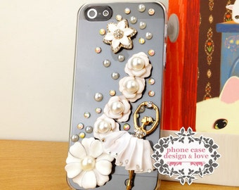 Studded iPhone 5 / 5s Case Cover Studded Bling iPhone Case Bling iPhone 5 / 5s Cover Ballet Floral