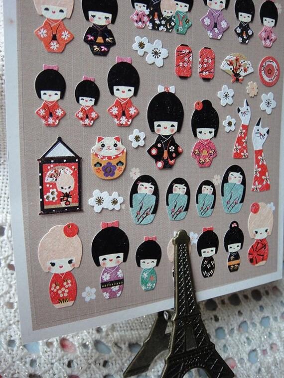 Lovely japanese kokeshi stickers korean stickers cute for Stickers kokeshi