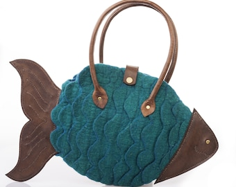 "Felted Fish tote bag with leather  - ""FISH 00"""