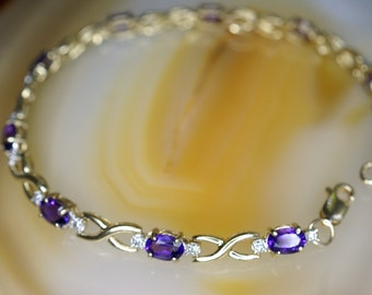 14k Yellow Gold Oval Cut Amethyst and Diamond Bracelet