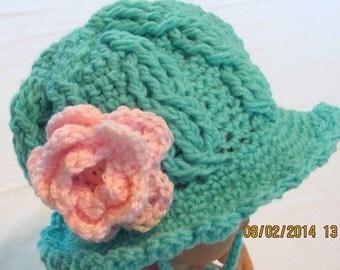 Flower trimmed crochet sunhat
