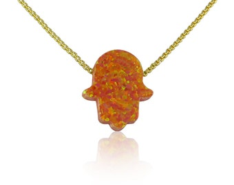 Orange Hand of Hamsa Opal Necklace in Gold Plated Sterling Silver Chain • 2 Chain Styles and 6 Chain Lengths to Choose From • Waterproof