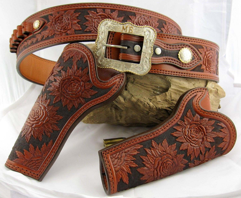 Custom handmade fully hand carved roses cowboy holsters