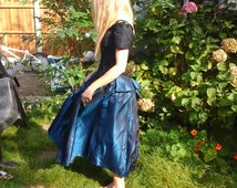 Stunning tonic navy & black beaded gothic evening gown