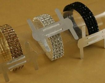 1 FAUX RHINESTONE Wrist Band Corsage Flower Holder Weddings, Prom - Choose color