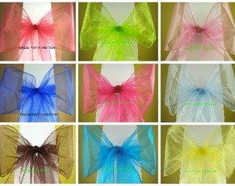 "6  LARGER Shimmer Organza CHAIR BOW Sash 9"" x 115"" Choose From 23 Colors"