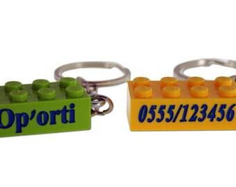 Personalised lego® keychain engraved on both sides