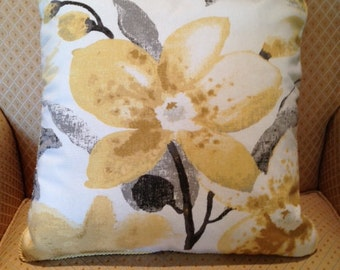 Yellow/Grey Flower Pillow Cover with Trim