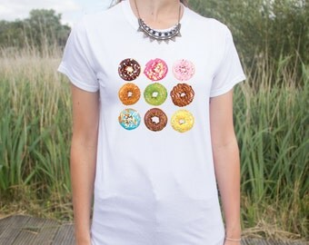 Doughnut T-shirt Top Junk Food Lover Fashion Blogger Gift