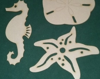 Sea creatures unfinished wood cutouts