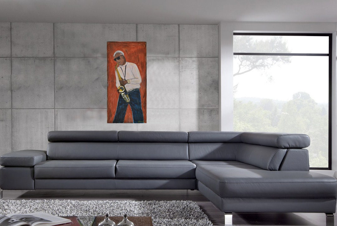 Tableau jazzman new york city peinture originale sur toile for Tableau moderne new york