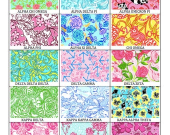 Lilly pulitzer sorority etsy for Lilly pulitzer sorority letters