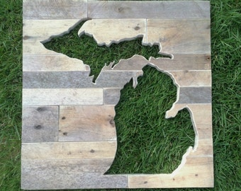 Reclaimed Wood State of Michigan Wall Decor