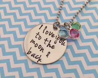 I love you to the moon and back Disc Necklace with Swarovski Crystal Birthstones