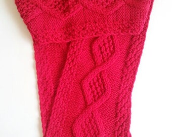 Big Diamonds Cables Woman's Red Scarf, Long Neck Warmer