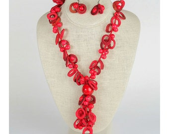 Magma: Red Acai Seed and Orange Peel Necklace and Earring Set