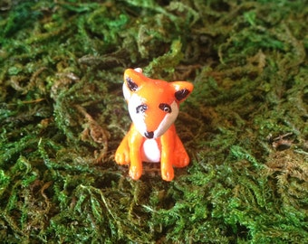 Miniature Animal Figurine Fox, Fairy Garden Accessory, Woodland Fox Tiny Sitting Clay Sculpture