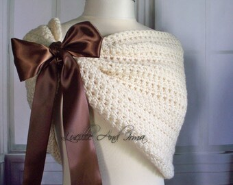 Brown Bridal Wrap Bridesmaids Shrug Wedding Wrap Caplet Bolero Evening Shawl Shoulder Wrap Hand Crochet Knit