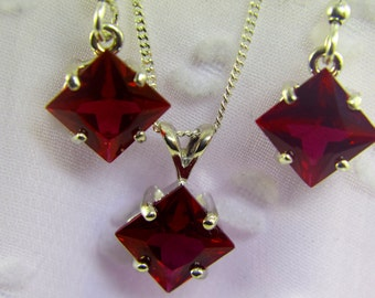 Ruby 8mm Square Pendant and Earrings