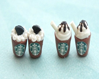 mocha frappucino earrings-miniature food jewelry, food earrings, coffee earrings