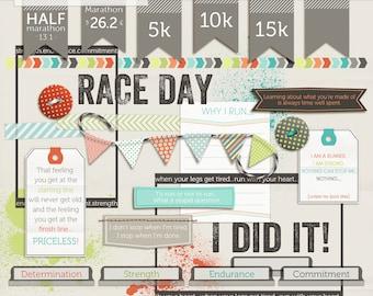 Running Digital Elements - Digital Scrapbook kit - Race Day