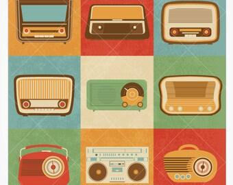 Retro Radio Vector Icons