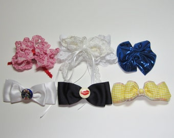 Barrettes,SALE,Set of Six,hair accessories,barrettes,adult bows,childrens bows,decorative bows, Christmas bows...17
