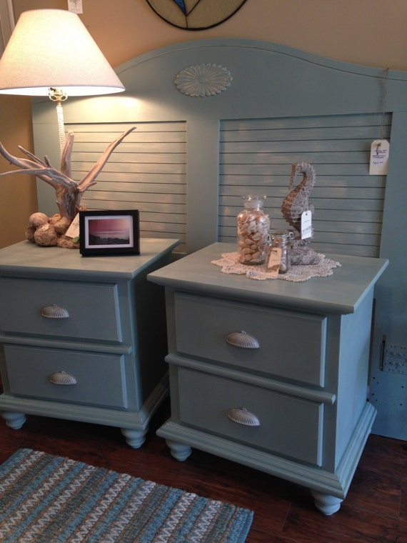 hand painted beach cottage queen bedroom set blue green and white