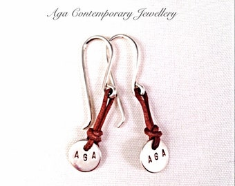 earrings,925 silver  with leather