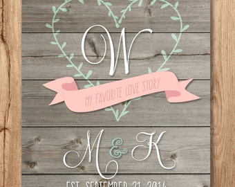 Monogrammed Favorite Love Story with initials on wood, printable, download, customizable, celebrate wedding, anniversary, engagement