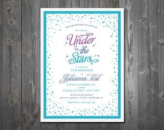 Under the Stars Birthday Party Invitation - DIY