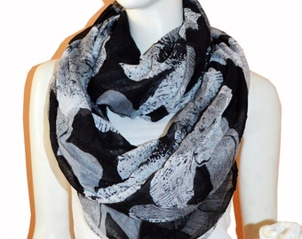Black Big Floral Light Weight X-large Infinity Scarf Loop Cowl