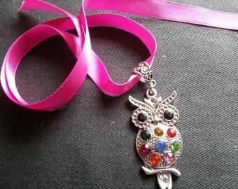 Super  cute Rainbow Owl ribbon Choker necklace