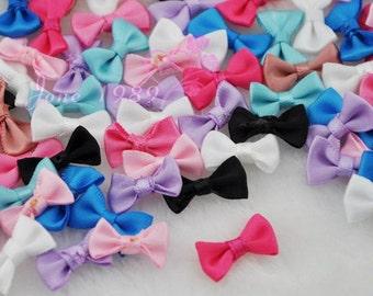 60 Small Satin Ribbon Bows Flower Appliques sew Craft Kid's cloth Lots Upick A0128