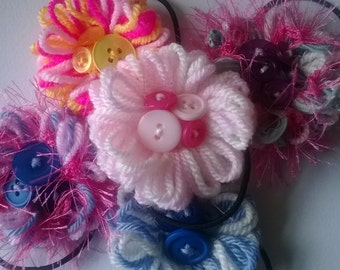 Handmade Flower hairband with button centre detail