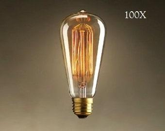 100 Pack -  60 Watt Edison Bulbs for Industrial Lighting - 60 Watt Bulbs (100 bulbs)