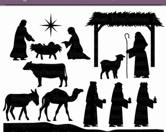 Christmas Nativity Silhouettes Digital Art Set Clipart Commercial Use Clip Art INSTANT Download Nativity Clipart Christmas Clipart
