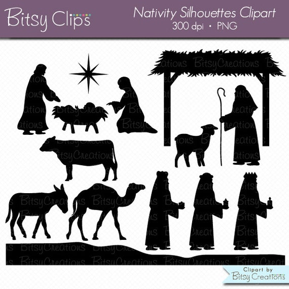 Christmas Nativity Silhouettes Digital Art Set Clipart Commercial Use ...