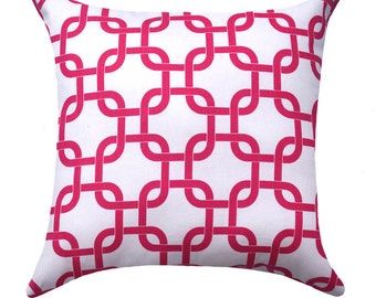 Candy Pink and White Pillow Cover - Hot Pink Pillow - Pink and White Chain Link Accent Pillow - Gotcha Candy White Pillow Cover -Dorm Pillow