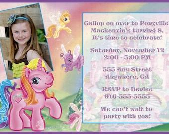 My Little Pony Photo Birthday Invitation