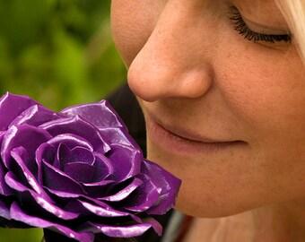Metal roses Perfect Handcrafted Flowers Lavender Steel Rose Art color Purple Lavendar