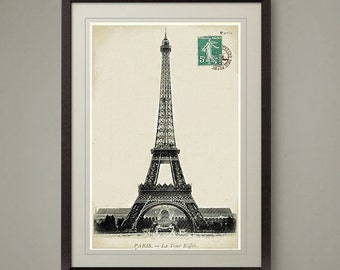 Old Paris postcard Eiffel Tower photo art print. Classic look for Home or Office. No.1 in a series of 4. Size 8 x10 inch. Buy 3 get 1 FREE!