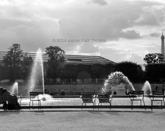 Paris Fountain, Black & White Photography, Travel, Paris Photography, Wall Art, Eiffel Tower