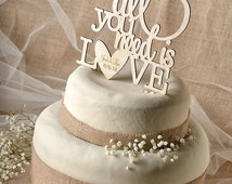 Rustic Cake Topper, Wood Cake Topper, All you need is love Cake Topper ...