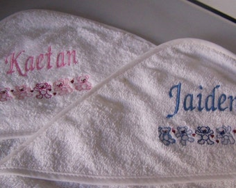 Personalised embroidered Babys Hooded bath towel (100% cotton) (teddies)