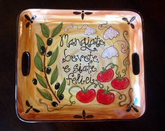 Hand Painted Pottery-Personalized Platter: Eat, drink, and be merry!